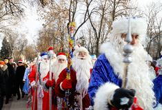 Parade of Father Frost and Snow Maidens. In Voronezh Russia for the New 2012 on December,25, 2011 royalty free stock photos