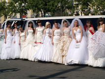 parade of fiancees is in Kharkov (Ukraine) Royalty Free Stock Photos