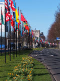 The parade of flags international district of The Hague near the world forum. Royalty Free Stock Images