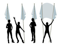 Parade with flags. Logo. Female silhouette hands Stock Photography