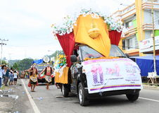 Parade float from Jawa Tengah. Parade float with marriage decoration from Jawa Tengah in procession in occasion of celebration of first entry of protestant Royalty Free Stock Image