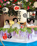 Parade of flowery Geisha girls at Gion festival Stock Photos