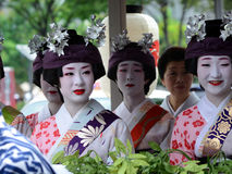 Parade of flowery Geisha girls at Gion festival Stock Photography