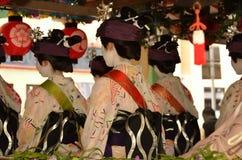 Parade of flowery Geisha girls, Kyoto Japan. Stock Photos