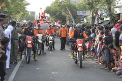 Parade followed entourage disaster relief teams Sukoharjo Stock Photo