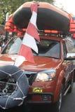 Parade followed entourage disaster relief teams Sukoharjo Stock Image