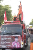 Parade followed entourage disaster relief teams Sukoharjo Stock Images