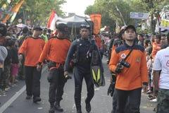 Parade followed entourage disaster relief teams Sukoharjo Royalty Free Stock Photos