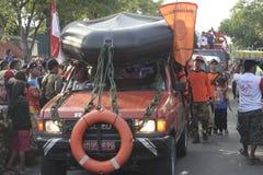 Parade followed entourage disaster relief teams Sukoharjo Stock Photography