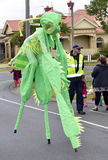 Parade. Gala Day Parade Geelong, now in its 97th year, raising money for the Geelong Hospital in Victoria Australia. This large green praying mantis was one of Royalty Free Stock Image