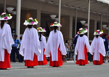 Parade of Gion festival, flower parasols. Kyoto Japan. Royalty Free Stock Photography