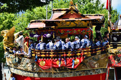 Parade of Gion festival, Kyoto Japan in July. The annual festival of Gion Matsuri of Kyoto in summer, many floats are decorated with historical treasures Royalty Free Stock Images
