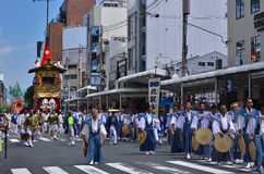 Parade of Gion festival, Kyoto Japan in summer. Parade of Gion Matsuri festival has held in hot summer in Kyoto, every float has decorated with historical Stock Photo