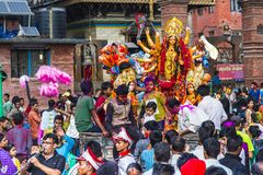 Parade of Goddess Kali during Dasain Festival , Kathmandu , Nepal. Dasain or Dashain is a 10 days festival in Nepal , and also is the biggest festival . For royalty free stock image
