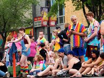 Parade Goers Waiting For Edmonton Pride Parade stock images
