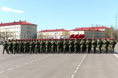 On the parade ground of the military unit of internal troops of the MIA of Russia. Stock Images
