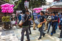 Parade of group of Musician Dasain Festival , Kathmandu , Nepal. Dasain or Dashain is a 10 days festival in Nepal , and also is the biggest festival . For honor royalty free stock image