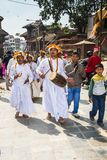 Parade of group of priests during Dasain Festival , Kathmandu , Nepal stock images