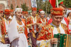 Parade of guests from Bashkiria in national costumes stock photo