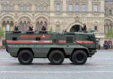Parade in honor of Victory Day in Moscow. Armored truck of military police KAMAZ-63968 `Typhoon-K` for transportation of personnel. MOSCOW, RUSSIA - MAY 9, 2019 royalty free stock photos