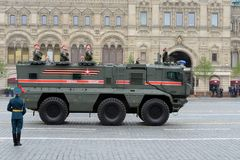 Parade in honor of Victory Day in Moscow. Armored truck of military police KAMAZ-63968 `Typhoon-K` for transportation of personnel. MOSCOW, RUSSIA - MAY 9, 2019 stock image
