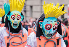 Parade of Horror Masks at Carnival of Basel (Basler Fasnacht) Royalty Free Stock Image
