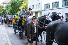 Parade of the hosts of the Wiesn Stock Photo