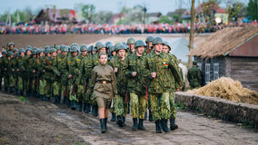 Parade of internal army forces soldiers during events dedicated Stock Image