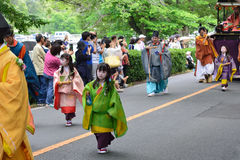The parade of Kyoto Aoi festival, Japan. Royalty Free Stock Image
