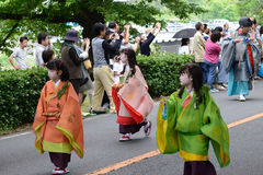 The parade of Kyoto Aoi festival, Japan. Stock Image