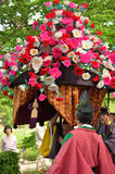 The parade of Kyoto Aoi festival, Japan. Picture of the parade of flowery Aoi hollyhock ceremony, dressed in traditional costumes of ancient imperial family and Stock Photography