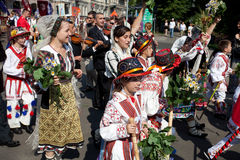 Parade of Latvian Youth Song and Dance festival Stock Images