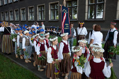 Parade of Latvian Youth Song and Dance festival Royalty Free Stock Images