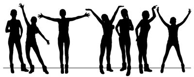 Parade. Logo. Female silhouette hands up, crowd Royalty Free Stock Photos