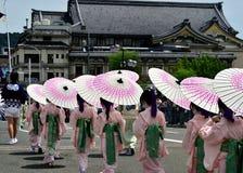 Parade of little Kimono girls, Gion festival scene. Royalty Free Stock Photos