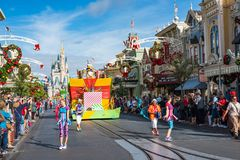 Parade in Main Street USA at The Magic Kingdom, Walt Disney World. Orlando, Florida: December 2, 2017: Parade in Main Street USA at The Magic Kingdom, Walt royalty free stock photos