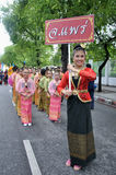 The parade of making traditional merit. BANGKOK, THAILAND - OCTOBER 3: Thai Traditional Dress. This is the parade of making traditional merit of people from the royalty free stock photos