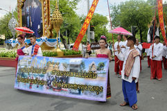 Parade of making traditional merit in Thailand. BANGKOK, THAILAND - OCTOBER 3: Thai Traditional Dress. This is the parade of making traditional merit of people royalty free stock images