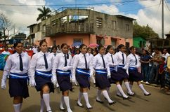 Parade March. Students march in a Independence Day Parade in Diriamba, Nicaragua celebrating the independence of Central America from Spain Stock Photo