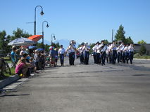 Parade!. Marching band in a small-town parade Royalty Free Stock Photos