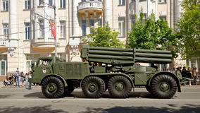 Parade of military equipment in honor of Victory Day. Bolshaya Sadovaya street, Rostov-on-Don, Russia. May 9, 2013 Royalty Free Stock Photos