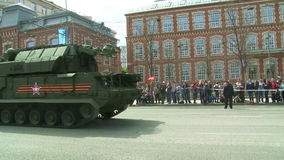 The parade of military equipment in Moscow, Russia stock video