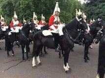 Parade. Military parade near Buckingham Palace. Royal Guards and plenty of horses Royalty Free Stock Photo