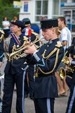 Parade of military orchestras Stock Photos