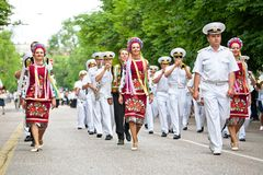 Parade of military orchestras Royalty Free Stock Images