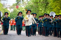 Parade of military orchestras Royalty Free Stock Photography