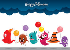 Parade Of Monsters Funny Halloween Party Stock Photo