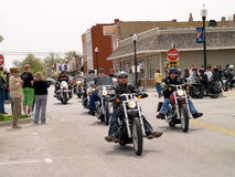 Parade of Motorcycles. April 26, 2008 Belton, Mo. The second annual Bikers, Blues & BBQ Charity Poker Run was Saturday at the Belton Eagles Lodge, 310-312 Main Royalty Free Stock Image