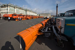 Parade of municipal cleaning trucks in Saint-Petersburg Royalty Free Stock Photo