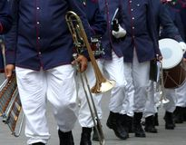 Parade of musicians of the band in full uniform with the musical Royalty Free Stock Photo